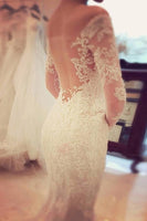 Charming Off The Shoulder Long Sleeves Lace Mermaid Wedding Dress -NBAdress