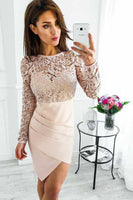 Long Sleeves Pearl Pink Satin Homecoming Dress With Lace-NBAdresses
