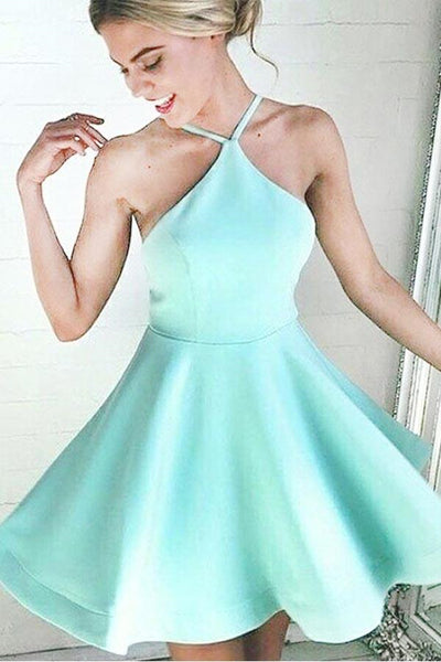 A-Line Halter Short Mint Satin Homecoming Dress With Ruched-NBAdresses