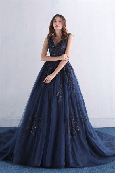 Dark Blue V Neck Tulle Lace Long Prom Dress, Blue Evening Dress-NBAdresses