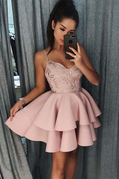 Spaghetti Straps Tiered Pink Satin Homecoming Dress with Sequins-NBAdresses