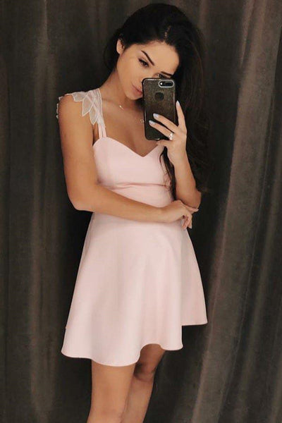 A-Line Spaghetti Straps Short Pink Satin Homecoming Dress With Lace-NBAdresses