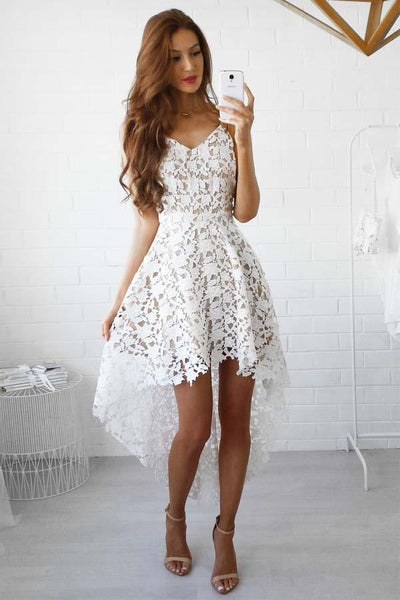 A-Line High Low Straps Simple White Lace Homecoming/Party Dresses-NBAdresses
