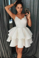 A-Line Spaghetti Straps Tiered Short Satin Homecoming Dress With Lace-NBAdresses