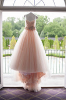 Champagne sweetheart tulle long wedding dress, champagne bridal dress-NBAdresses