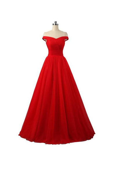 A-line Red Floor Length Tulle PromDresses Evening Dresses-NBAdress