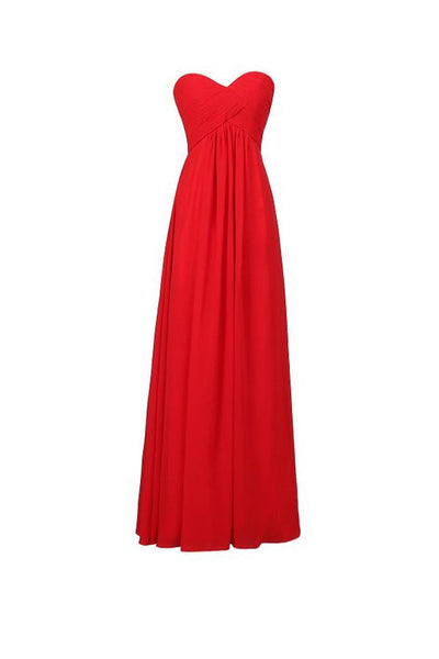 A-line Chiffon Sweetheart Bridesmaid Long Evening Gown-NBAdress