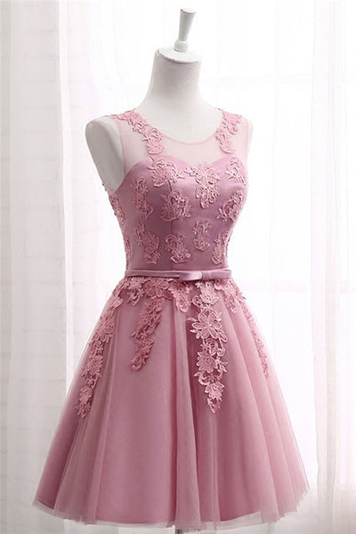 Pink Round Neck Tulle Lace Long Prom Dress, Pink Bridesmaid Dress-NBADRESSES