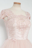 Vintage Knee-Length A-line Pearl Pink Homecoming Dress With Lace-NBAdress