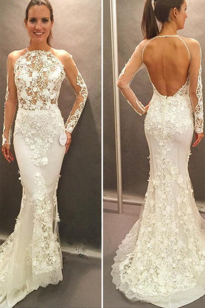 Long Sleeves Lace Appliques Open Back Court Train Wedding Dress-NBAdress
