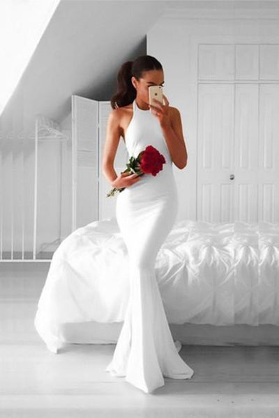 Mermaid Halter White Chiffon Sweep Backless Prom Dress with Pleats-NBAdresses