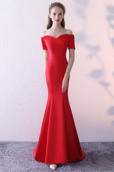 Long Fishtail Dress Red Word Shoulder-NBAdresses