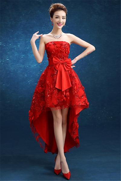 New Short Front And Long Back Bra Three-Dimensional Flower Dance Dress-NBAdresses