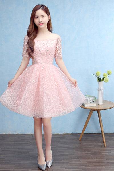 New Korean Style Shoulder Lace Half Sleeve Pink Bridesmaid Dress-NBAdresses
