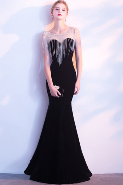 2018 Noble Black Fishtail Bridesmaid Dress Sexy Atmospheric Dress-NBAdresses