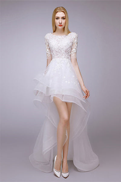 2017 Autumn And Winter New Thin Shirt In Front Of The Long Bride Wedding Dress-NBAdresses
