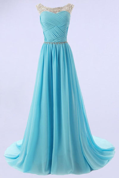 Elegant A-line Scoop Bridesmaid/Prom Dresses with Beading-NBAdress