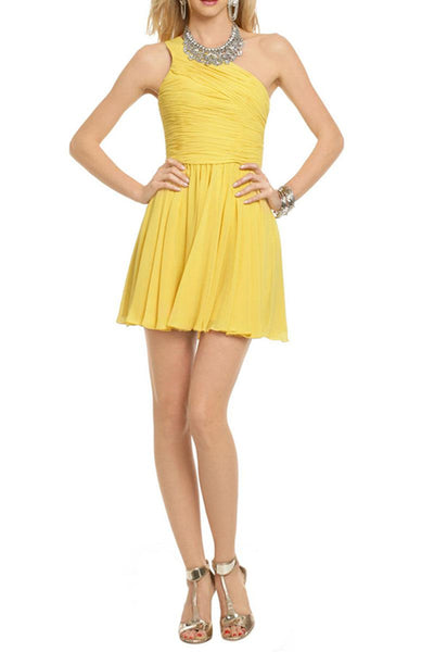 Cute Daffodil One-Shoulder Pleated Short Bridesmaid Cocktail Dress-NBAdresses