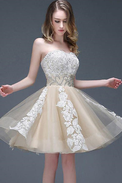 Strapless Sweetheart Appliqued Homecoming Dress With Beading Waist Elegant Prom Dress-NBAdresses
