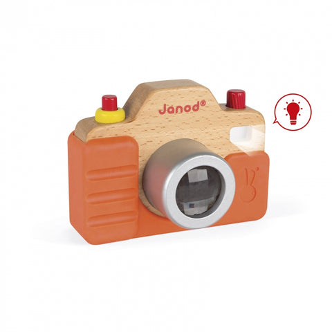 Janod camera with sound and flash, first wooden toy