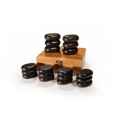 Master Massage 18 pcs Mini Body Massage Hot Stone Set with Bamboo Box
