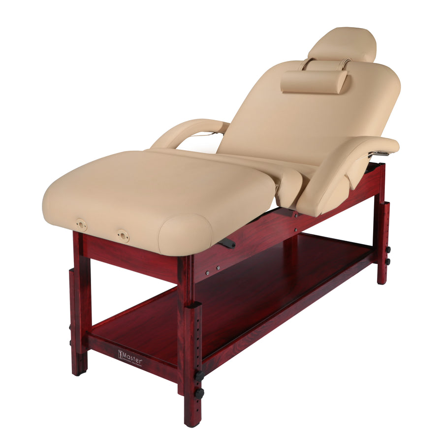"Master Massage 30"" Claudia Stationary Massage Table Spa Salon Beauty Bed with Pneumatic Tilting Backrest and Leg Rest, MC Beige with Mahogany Legs"