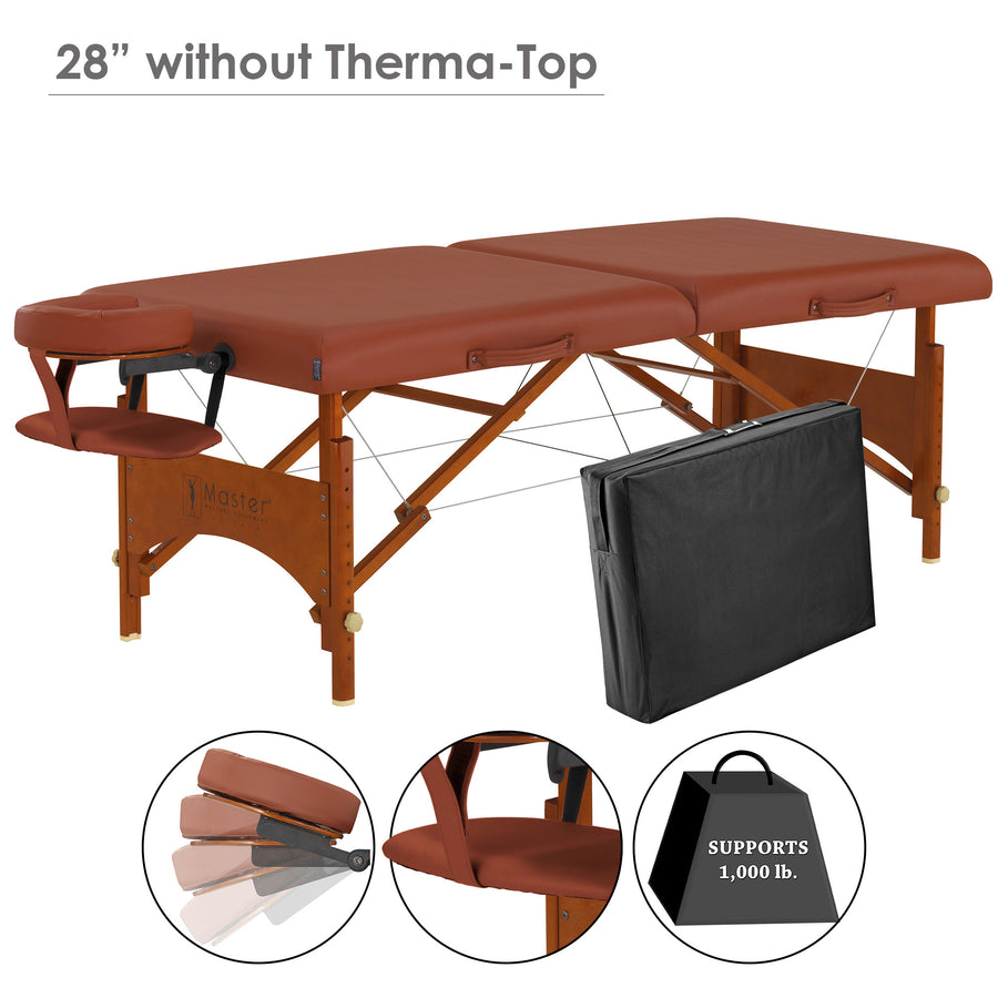 "Master Massage 28"" Fairlane thermal top comfort massage portable Table deluxe set"