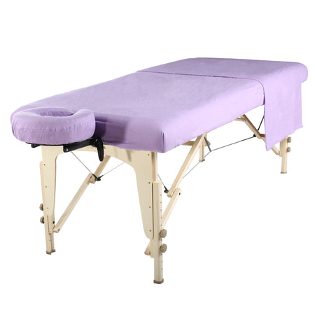Master Massage Deluxe Massage Table Flannel 3 Piece Sheet Set - 100% Cotton-Purple