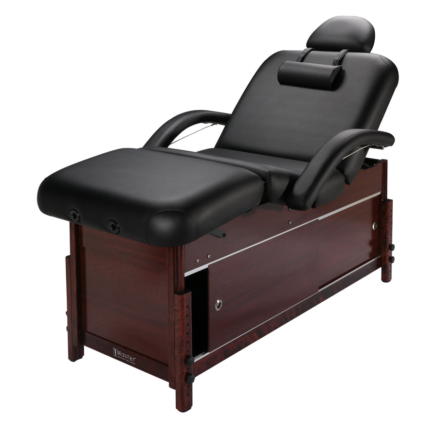 "Master Massage 30"" Cabrillo Stationary Massage Table Spa Salon Beauty Bed with Cabinet, Pneumatic Backrest and Leg Rest, Black with Walnut Legs"