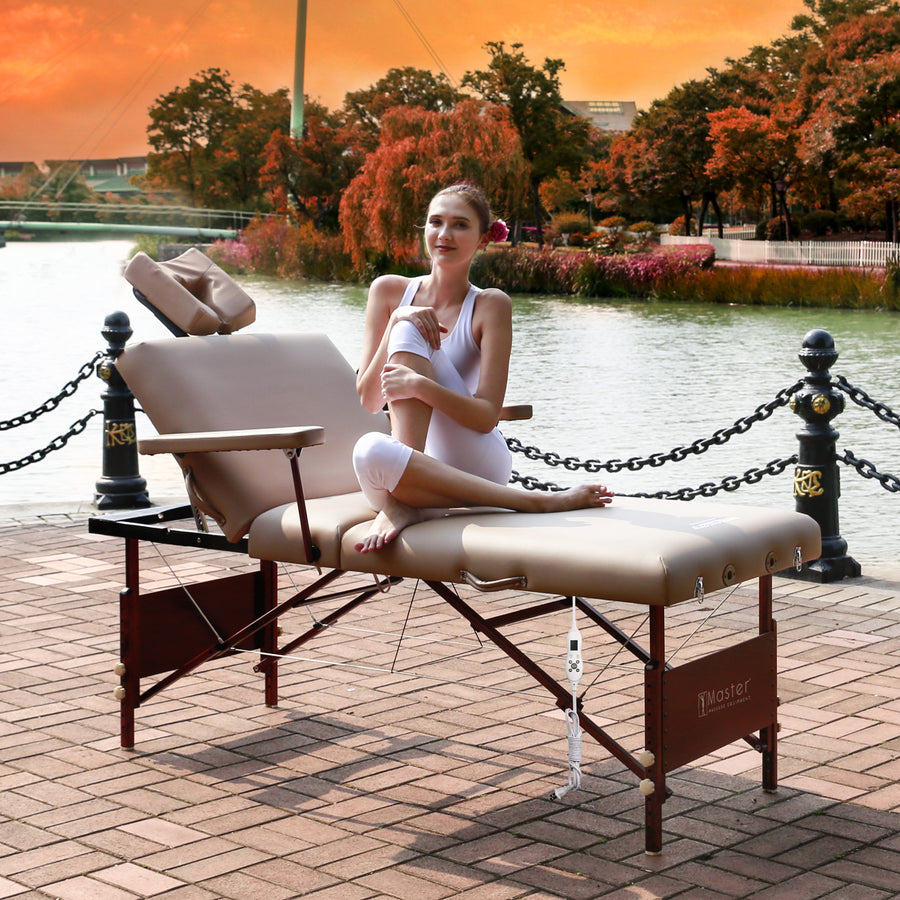 "Master Massage 30"" DEL RAY™ SALON Portable Massage Table Package with Therma-Top® - Adjustable Heating System! (Sand Color)"