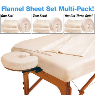 Master Massage Multi 3-Pack Deluxe Massage Table Flannel 3 Piece Sheet Set - 100% Cotton