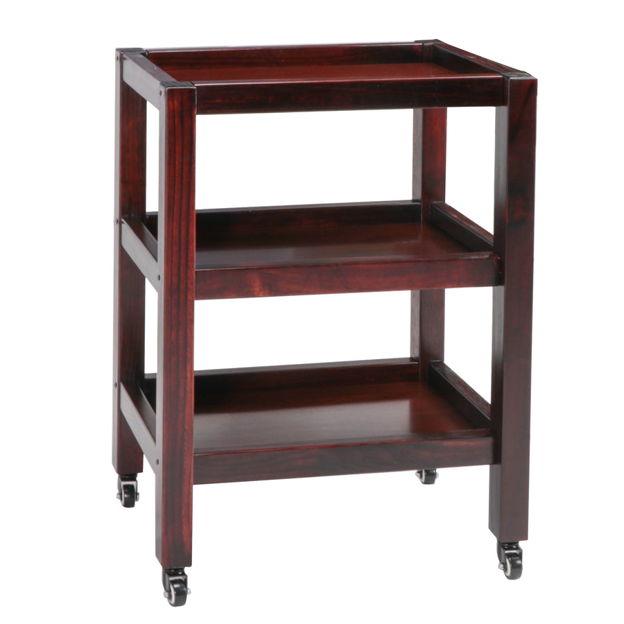 Master Massage Salon Trolley With Wheels 3 tiers walnut