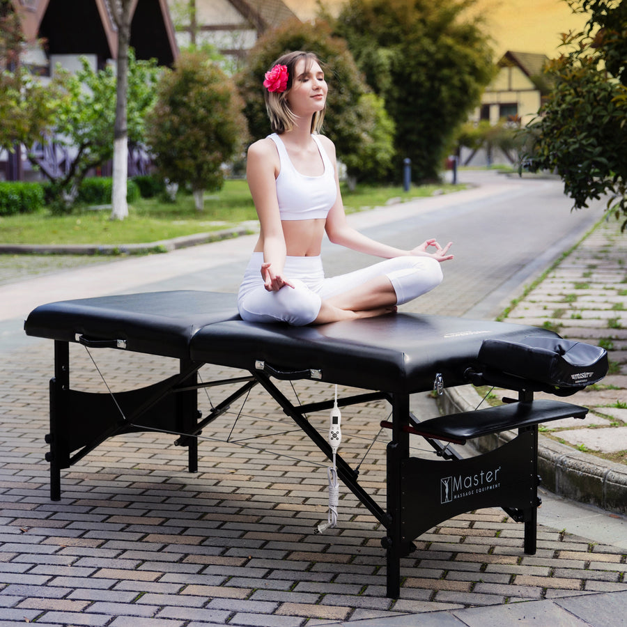 "Refurbish Master Massage 30"" GALAXY™ Portable Massage Table Package with THERMA-TOP® - Built-In Adjustable Heating System, Sophisticated Black on Black Color Theme!"