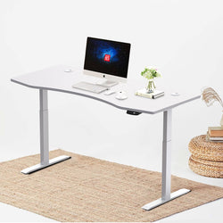"Hi5 Ez Electric Height Adjustable Standing Desk with ergonomic contoured Tabletop (71""x 31.5"") and dual motor lift system for Home Office Workstation"