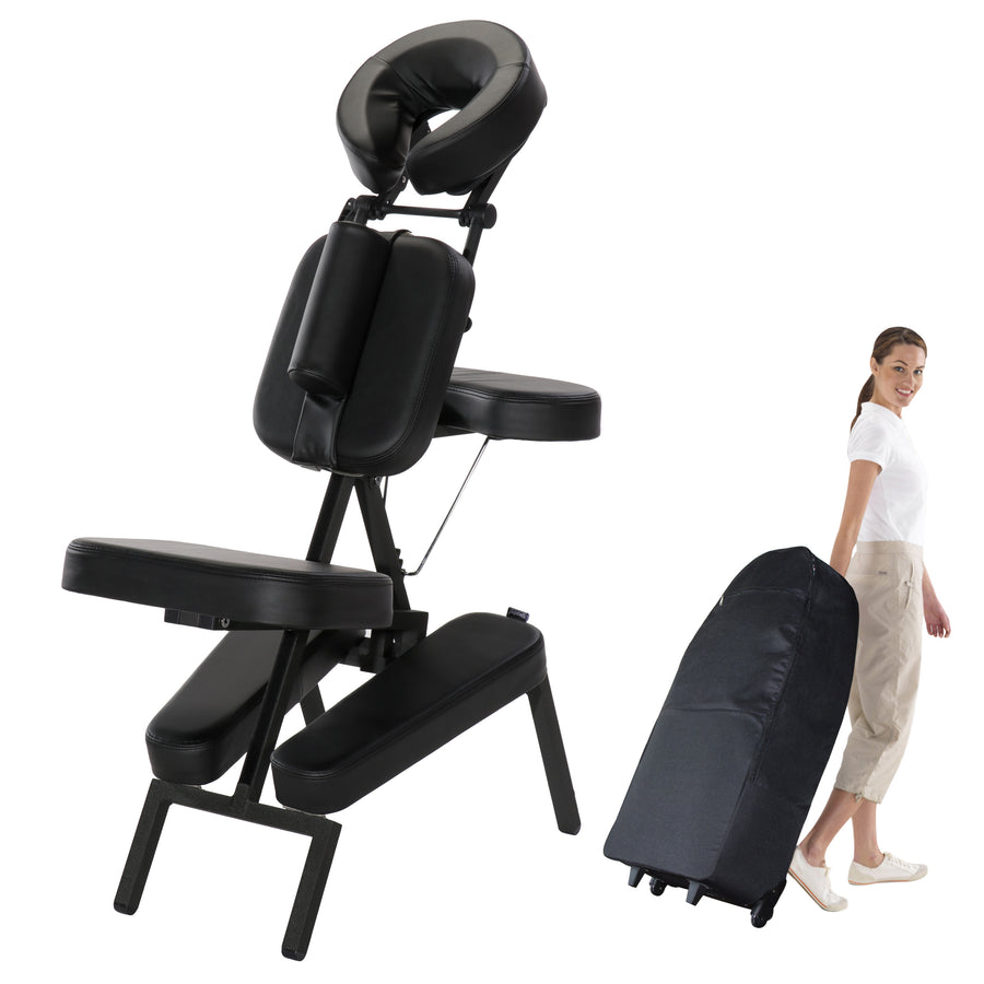 Master Massage - The HUSKY APOLLO™ XXL Portable Massage Chair Package - Largest Cushions on the Market & a Shocking 1,200 lbs! (Black Color)