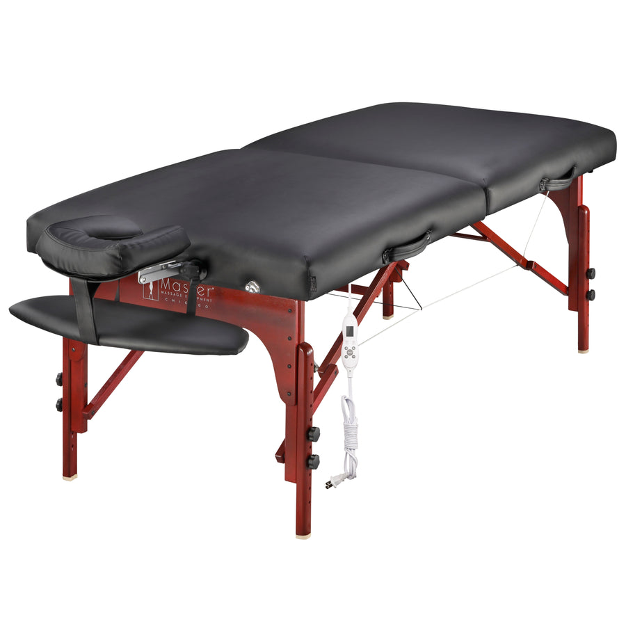 "Master 31"" Montclair Portable Wooden Thermal Top Massage Table Black"