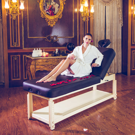 "Master Massage 30"" Harvey Tilt Stationary Massage Table two section Tilting Backrest Spa Salon Bed - Black"