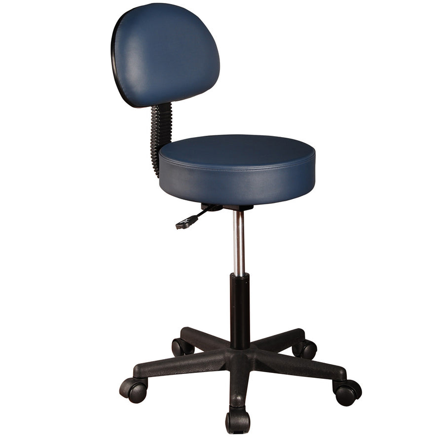 Master hydraulic Pneumatic Rolling Massage Stool with Backrest royal blue