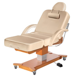 Master Massage® Maxking Salon Electric Lift Spa Salon Stationary Pedestal Flat Beauty Bed Beige