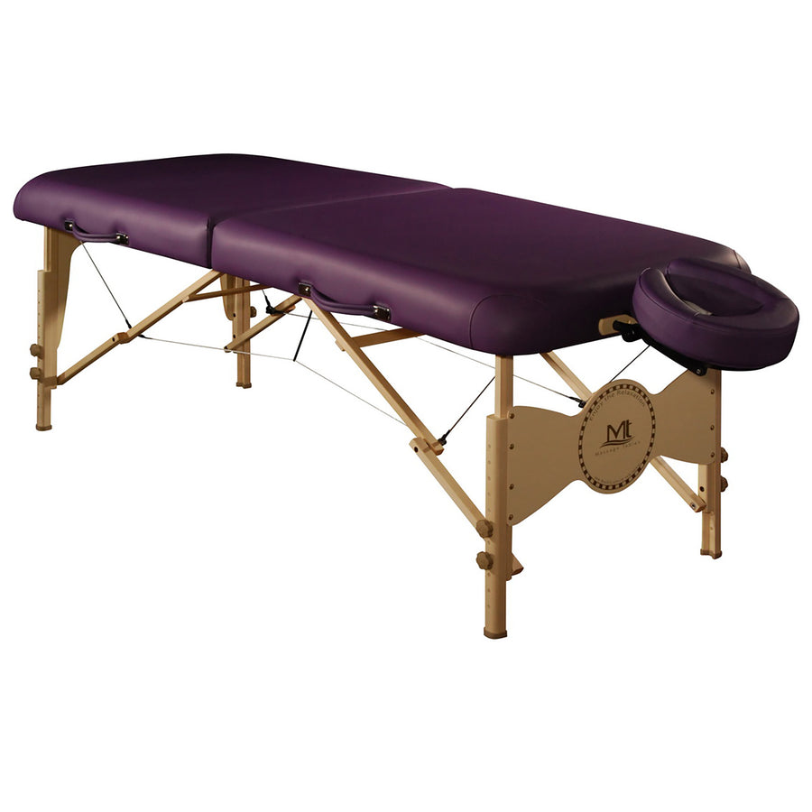 "Mt Massage 30"" Midas Plus Portable Massage Table Package Reiki,Shiatsu Cable Release and 3 inch foam cushioning Purple"