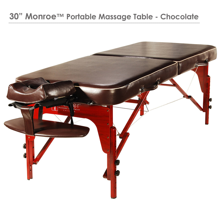 "Master Massage 30"" MONROE™ LX Portable Massage Table Package with MEMORY FOAM Layer, Shiatsu Cables, & Reiki Panels, Black Color"