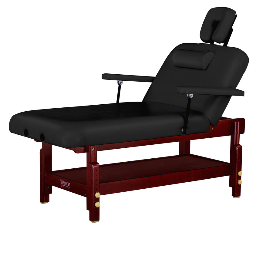 "Master Massage 31"" MONTCLAIR™ Portable Massage Table Package with Therma-Top® - Adjustable Heating System, Shiatsu Cables, & Reiki Panels! (Black Color)"
