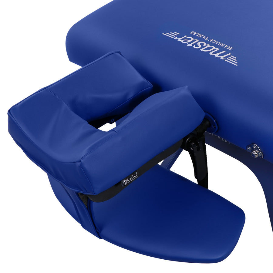 "Master Massage 31"" Montclair Massage Table Imperial Blue face cushion"