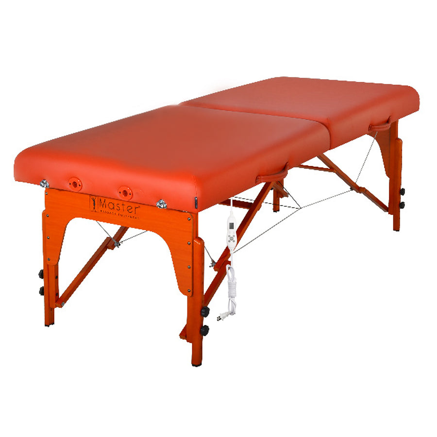 "Refurbish Master Massage 31"" SANTANA™ Portable Massage Table with Therma Top Shiatsu Cables, Reiki Panels! Table Only (Mountain Red Color)"