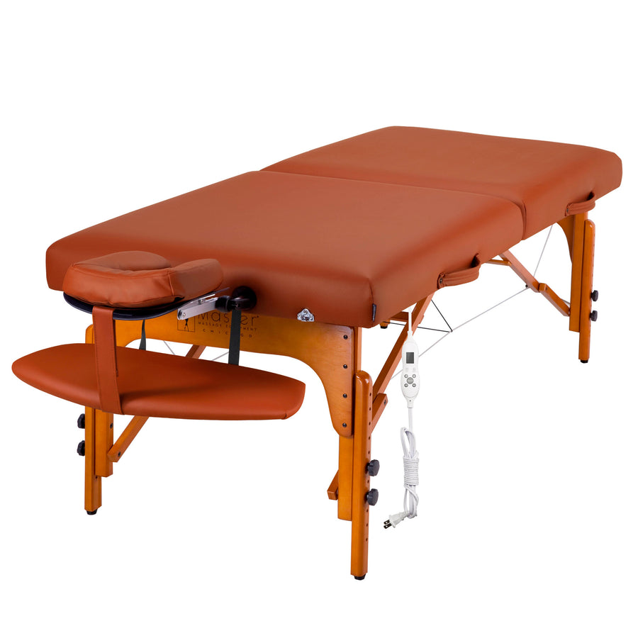 "Refurbish Master Massage 31"" SANTANA™ Portable Massage Table Package with Therma-Top®-Adjustable Heating System, Shiatsu Cables, Reiki Panels! (Mountain Red Color)"