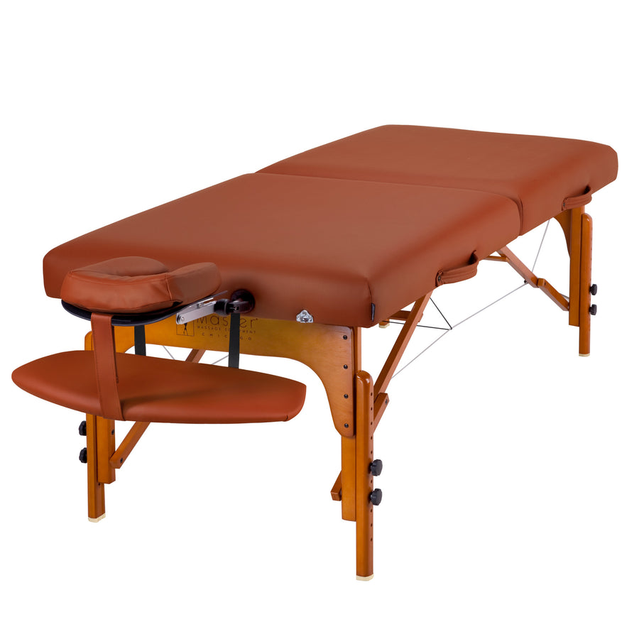 "Master Massage 31"" SANTANA™ Portable Massage Table Package with MEMORY FOAM Layer, Shiatsu Cables, & Reiki Panels! (Mountain Red Color)"