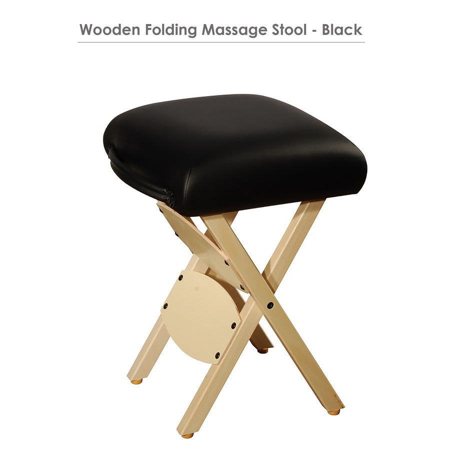 Master Massage Lightweight wooden swivel Folding  Stool black