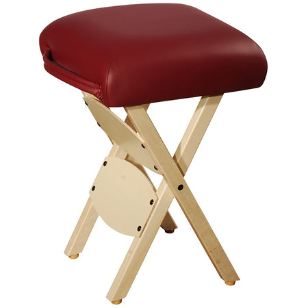 Master Massage Wooden Folding Massage Stool, Burgundy
