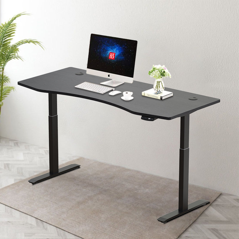 "Hi5 Ez Electric Height Adjustable Standing Desk with ergonomic contoured Tabletop (59""x 31.5"") and dual motor lift system for Home Office Workstation"