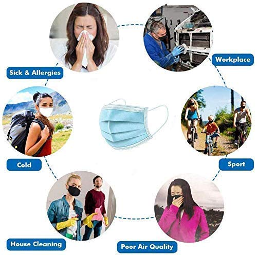 50Pcs Disposable Earloop Face Masks, 3 Ply Breathable and Comfortable Mask with Elastic Ear Loop for Blocking Dust Air Pollution (Blue)